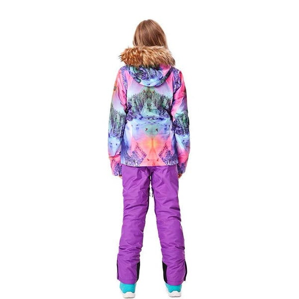 Women's Gsou Snow 15k Mountains Landscape Snowboard Suits Sets - snowverb