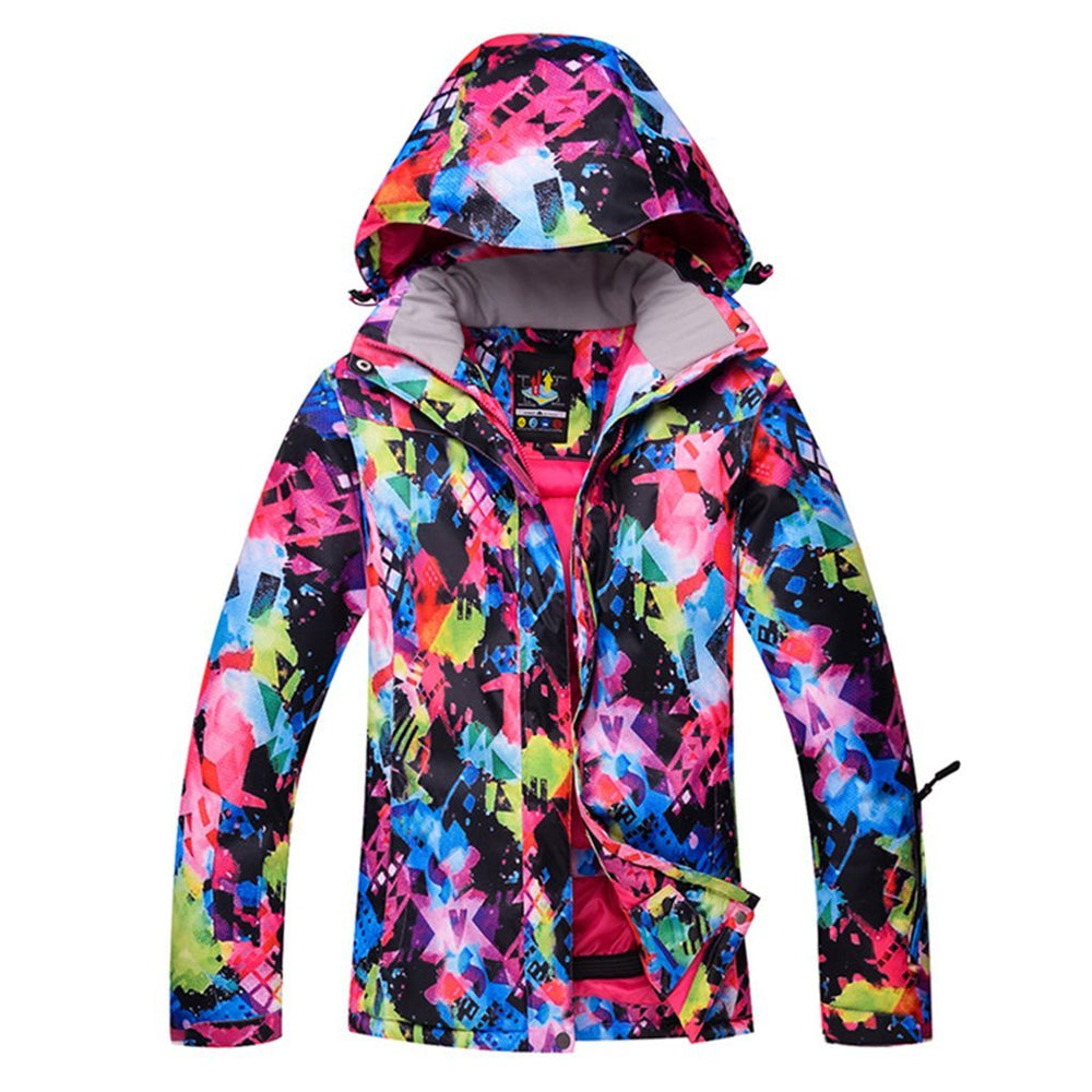 Women's High-Tech Ski Jacket Colorful Print Mountain Waterproof Snow Jacket