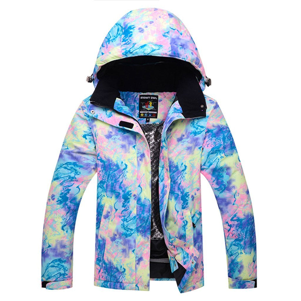Women's Snowy Owl Mountain Universe Picture Waterproof Ski Jacket