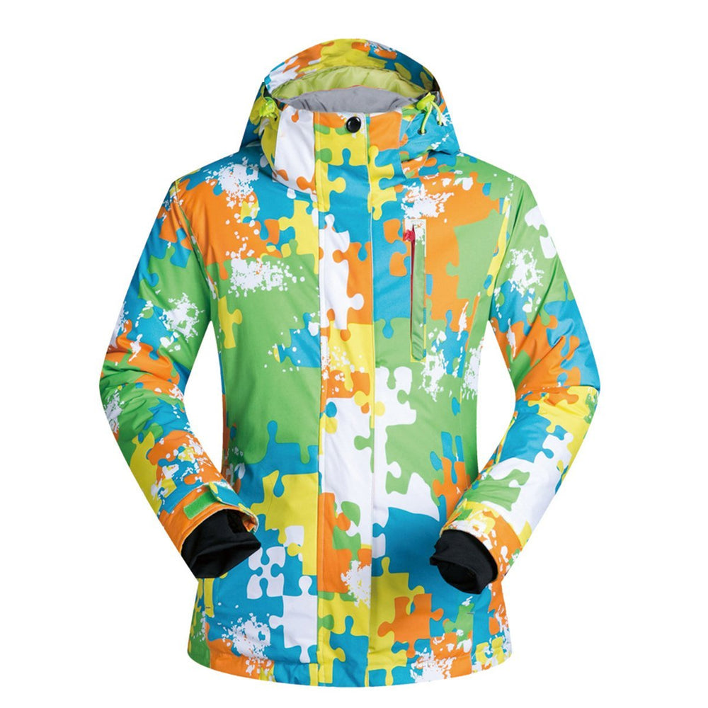 Women's Mutu Snow Puzzle Pattern Insulated Snowboard Jacket