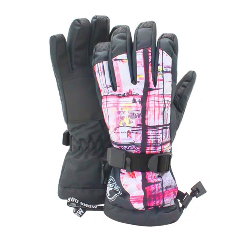 Women's Pink Secret Waterproof Snowboard Gloves