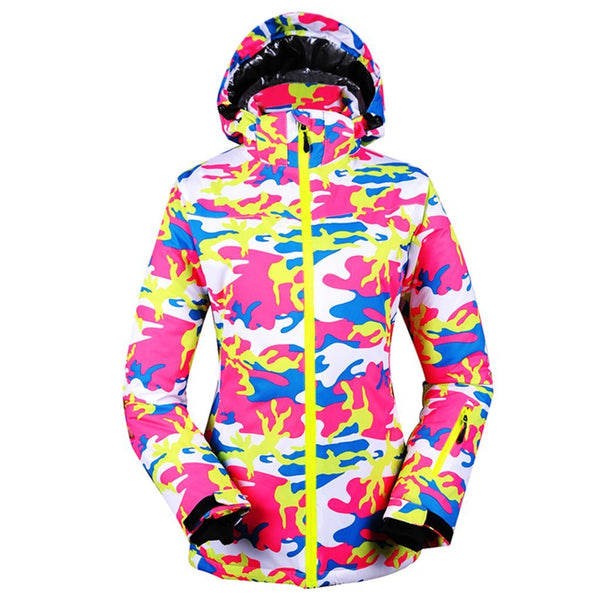 Women's Snowy Owl Stylish Camouflage Colorful Print Ski Jacket