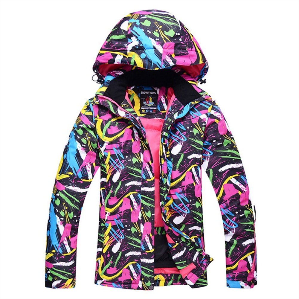 Women's Waterproof Colorful Print Warm Insulated Ski Jackets Winter Coat