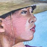 Portrait of a girl on horse, detail of face and textured canvas