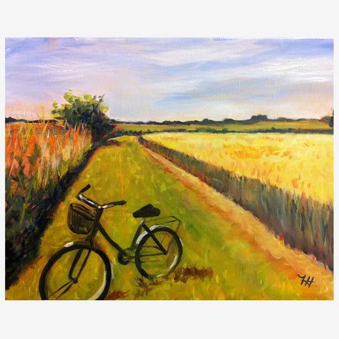 Bike in a Wheat Field, 9 x 11, Oil
