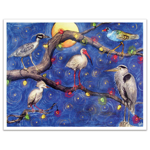 Swamp Birds Holiday Print, 8x10