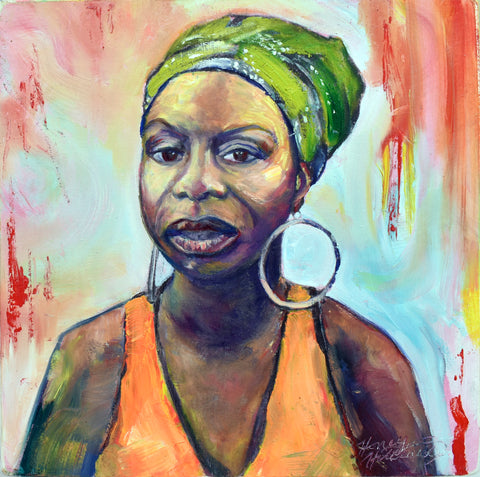 "Portrait of Nina Simone, 12 x 12 oil on 2.5"" deep canvas"