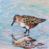 "Shorebird Reflection on 12x12"" wood canvas, textured original painting by Honey Hilliard"