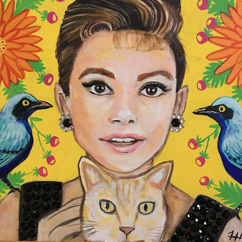 Audrey with Bluebirds of Happiness, 12x12 (SOLD)