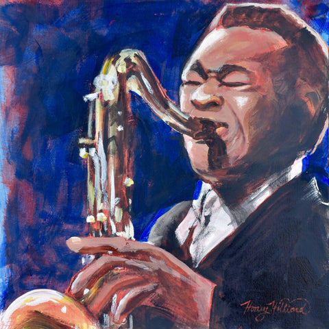 John Coltrane, 12x12, acrylic on canvas paper