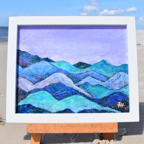 Mountains & Lilac Sky, 8 x 10 on canvas board with frame
