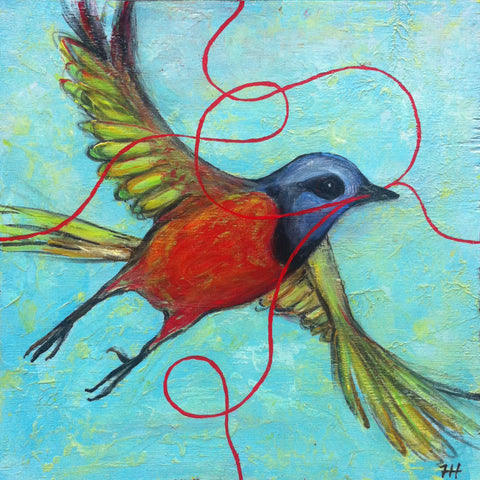 Painted Bunting, 12x12 (sold)