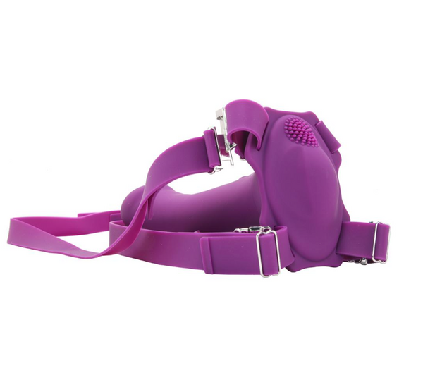 ME2 Rumble Vibrating Silicone Strap-On in Purple