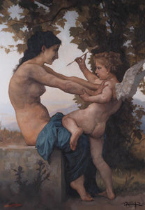 A Young Girl Defending Herself against Eros -  Master copy after Bouguereau.