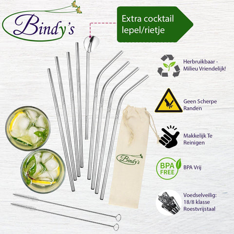 Bindy's set van 9 rvs rietjes inclusief cocktail lepel