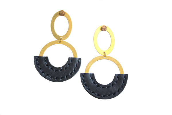 Heist Double Circle Drop Statement Earrings in Black