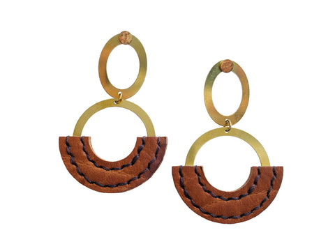 Heist Double Circle Drop Statement Earrings in Camel