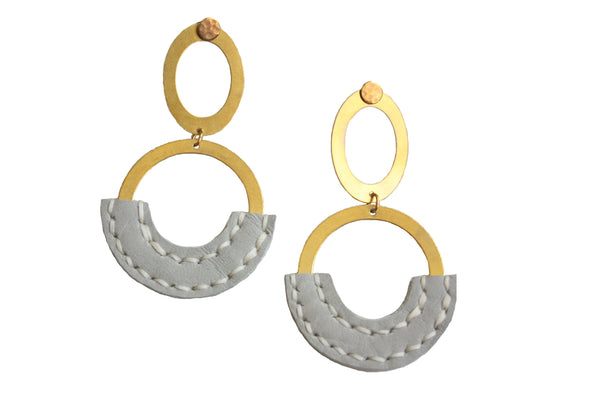 Heist Double Circle Drop Statement Earrings in Gray