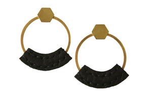 Open image in slideshow, Heist front facing hoop earrings with hand stitched black bison leather