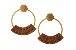 Heist front facing hoop earrings with hand stitched camel bison leather