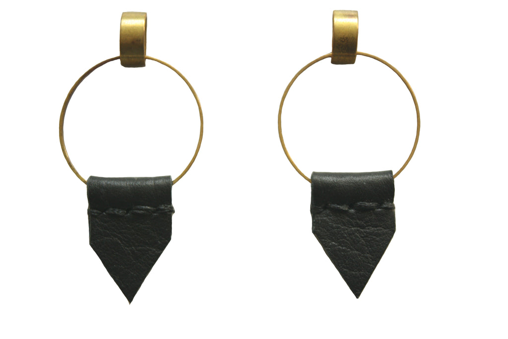 Leather Earrings - Heist Flag Earrings in Black