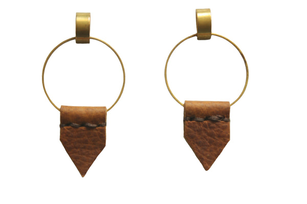 Leather Earrings - Heist Flag Earrings in Camel