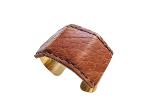 Open image in slideshow, Jensen Wide Leather Cuff in Camel