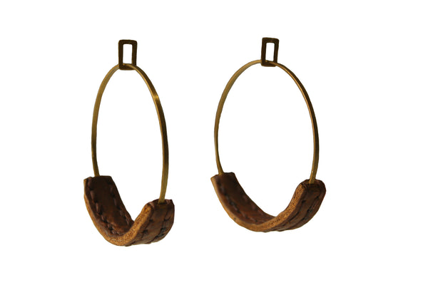 Heist Leather Hoop Earrings - Camel