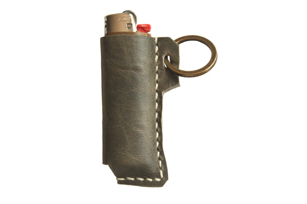 Heist Leather Lighter Case in Gun Metal