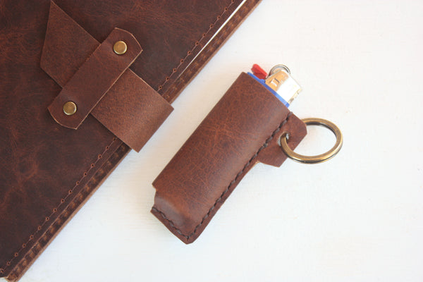 Heist Leather Lighter Keychain in Rust