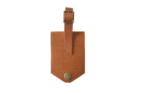 Leather Luggage Tag - Camel