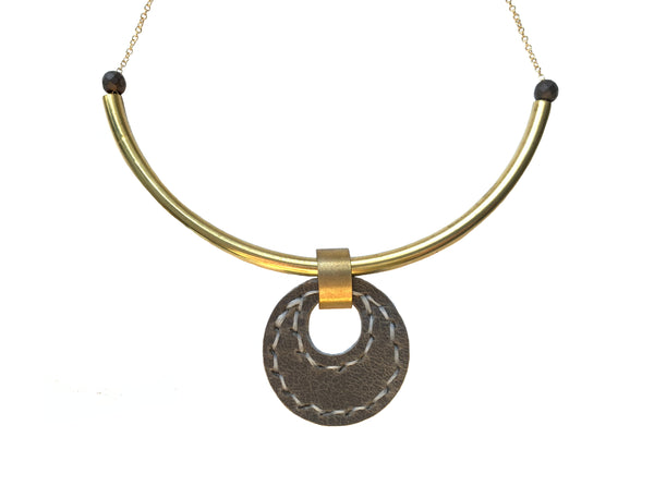 Majeure Necklace in Gun Metal | Leather Necklace
