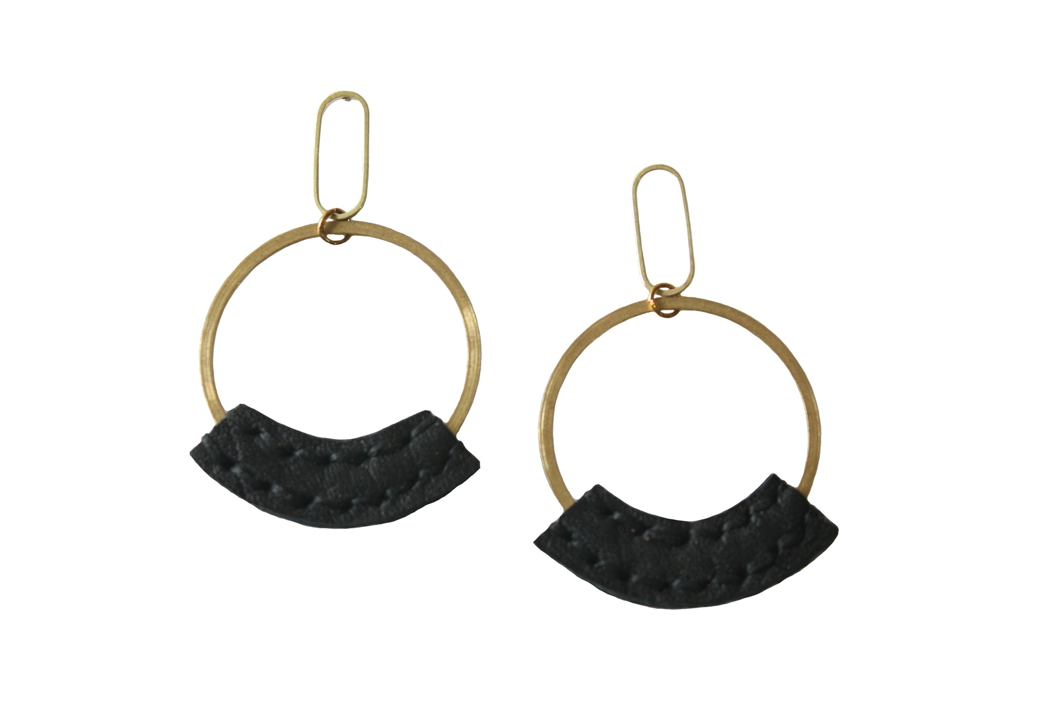 Wisp Hoop Earrings with Bison Leather in Black