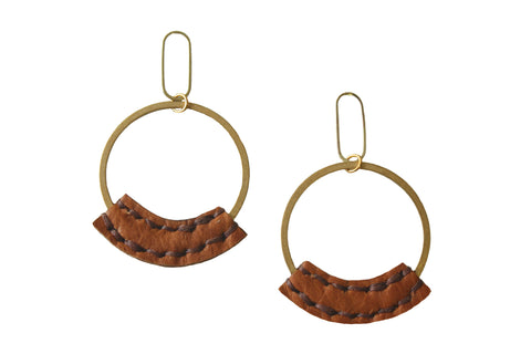 Wisp Hoop Earrings with Bison Leather in Camel