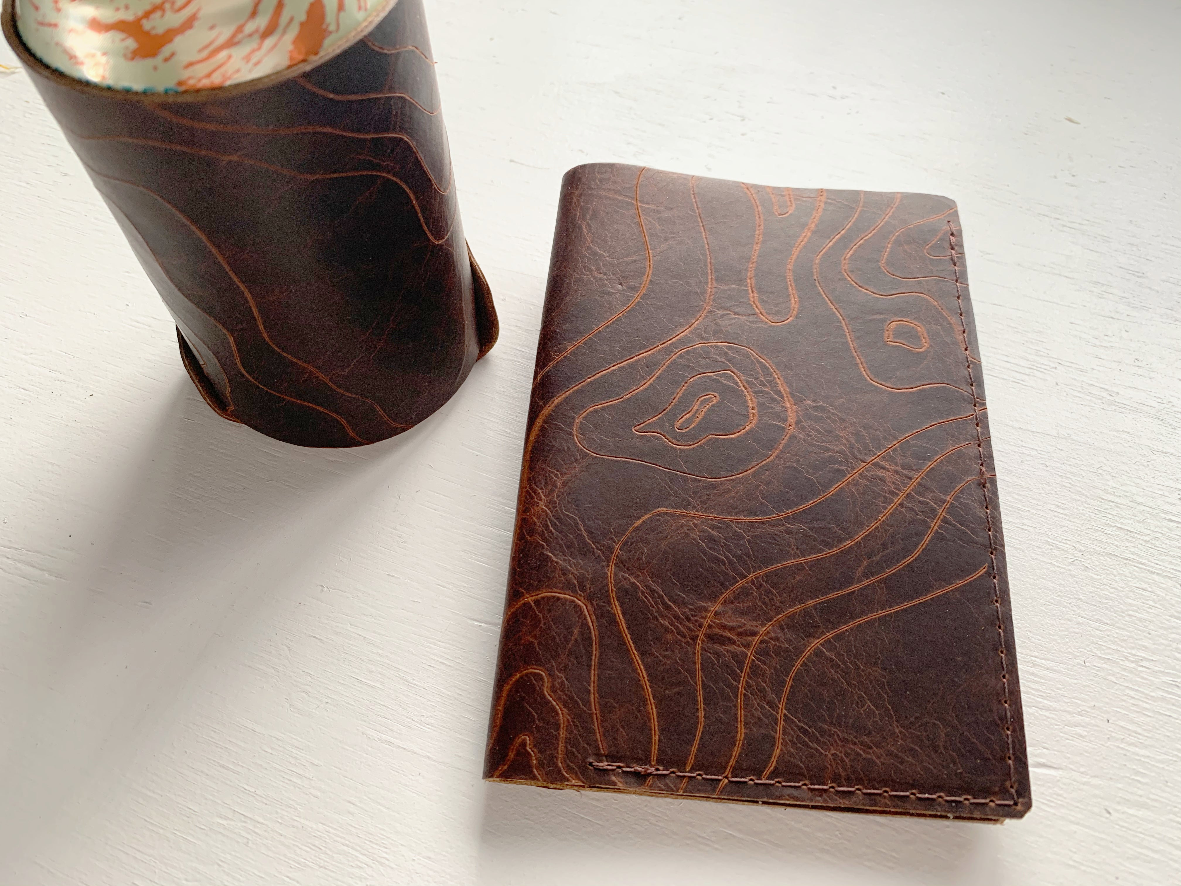 Topographic Leather Passport Cover with Coozie