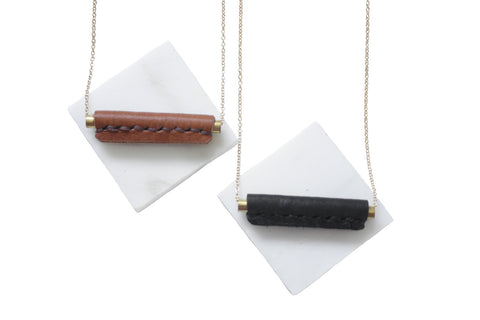 Layering Necklace | Leather Bar