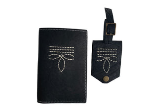 Open image in slideshow, Bootstitch Leather Passport Cover in Black by Heist