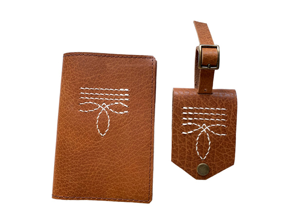 Bootstitch Leather Passport Cover in Camel by Heist
