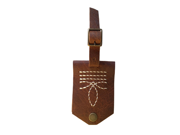 Bootstitch Leather Luggage Tags in Rust by Heist