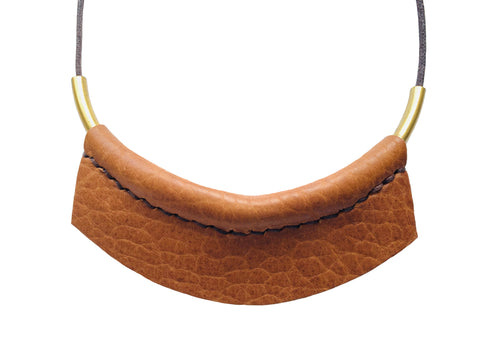 Leather Choker Necklace in Camel