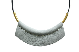 Leather Choker Necklace in Gray