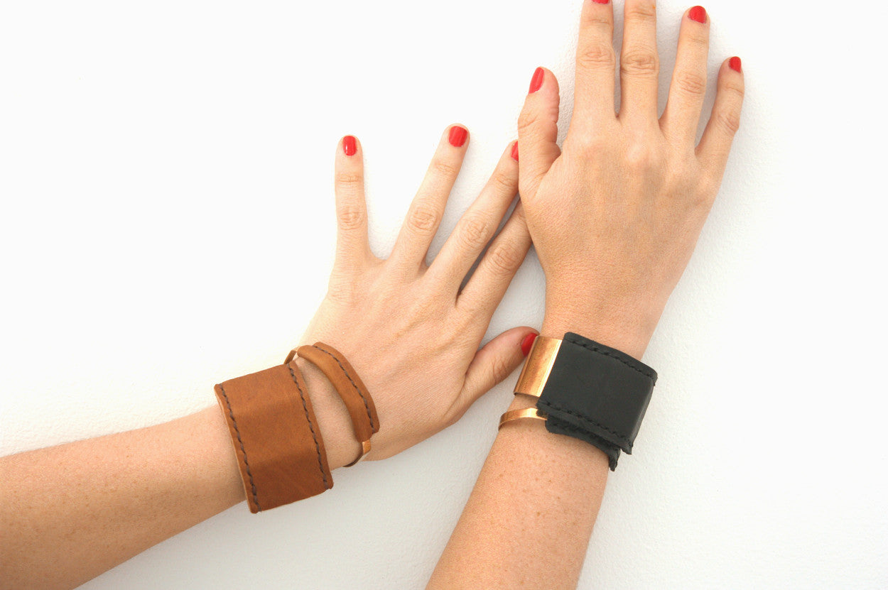 Stacked Jensen Leather Cuffs by Heist