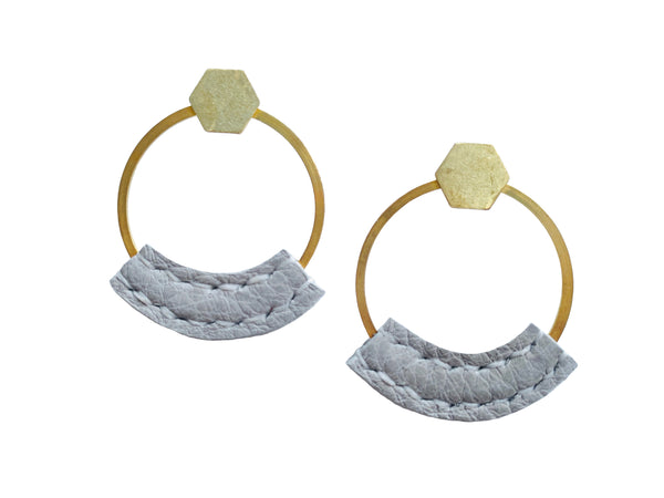 Heist Front Facing Hoop Earrings - Gray
