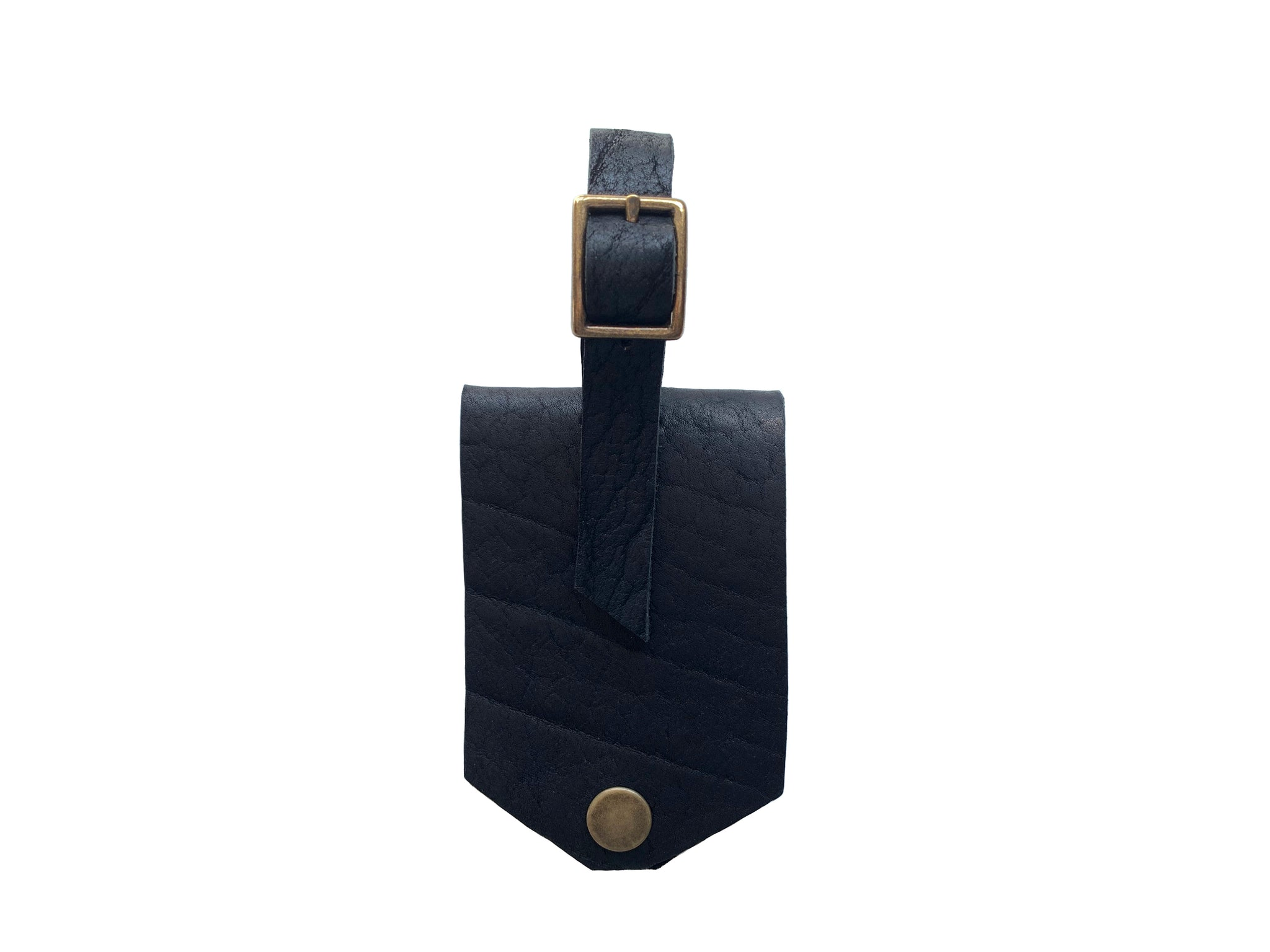Leather Luggage Tag - Black