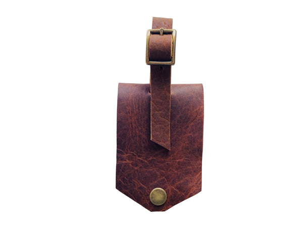 Leather Luggage Tag - Rust
