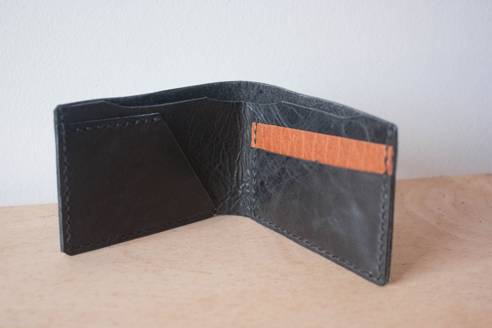 Handmade Leather Wallet Bifold in Black by Heist
