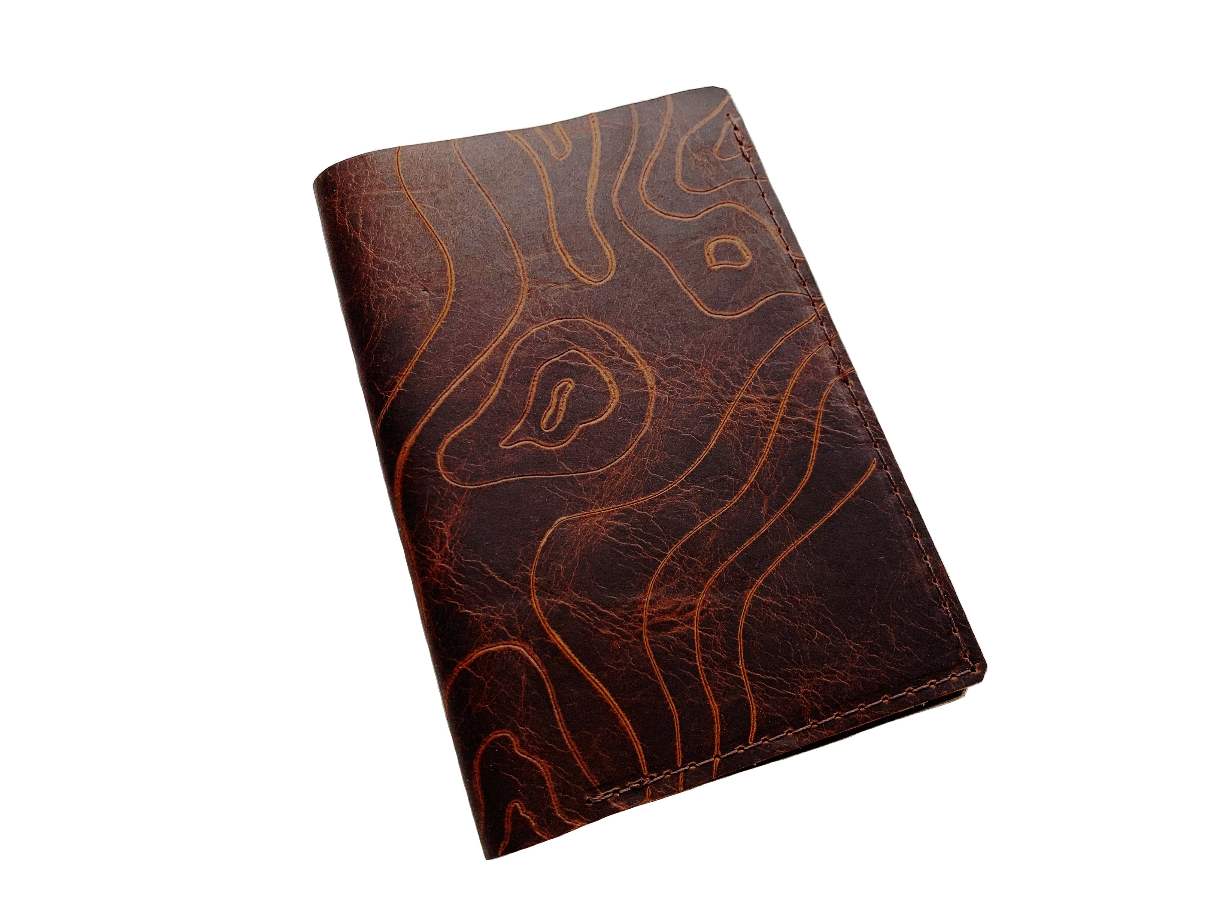 Topographic Leather Passport Cover