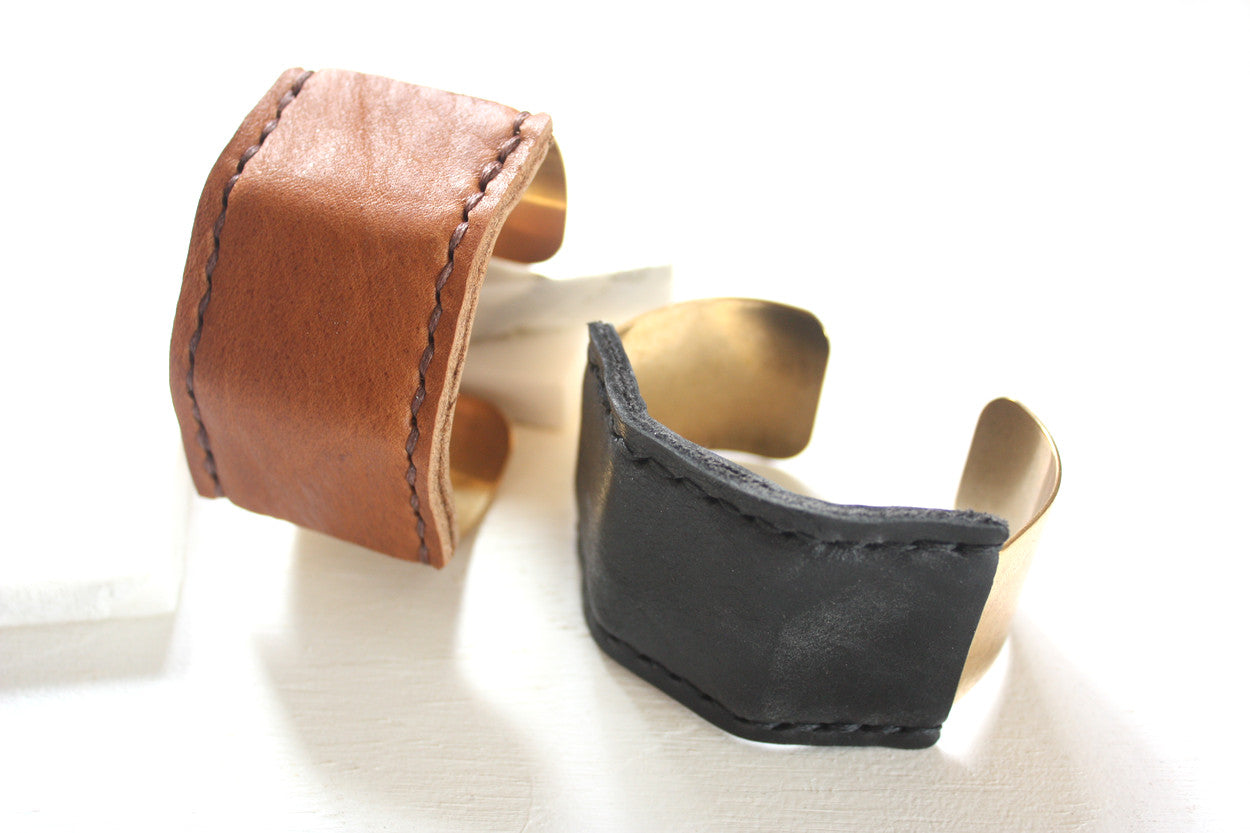 Jensen Wide Leather Cuffs by Heist