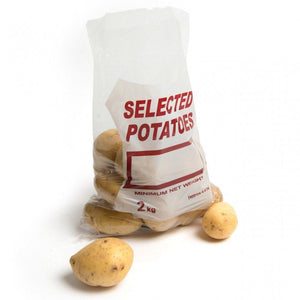 "Longboxes Pack Of 1000 25 cm x 35 cm 2 Kg Clear Polythene Bags Printed ""Potato"""
