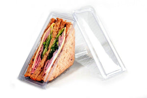 Longboxes Deep Fill Sandwich Display Wedge Clear Plastic Container 500 Pack/Box